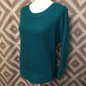 Loft Teal Turquoise Scoop Neck Zip Detail Sweater